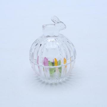 Bunny Shapped Handle Ribbed Clear Glass Candy Jar With Lid