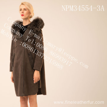 Hooded Medium Winter Fur Overcoat For Women