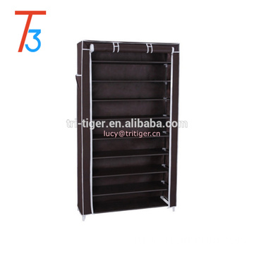 10 Tiers Shoe Rack with Cover Closet Shoe Storage Cabinet Organizer Dark Brown