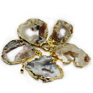 Agate Plate Pendant Gold Hollow Natural Gemstones Necklace