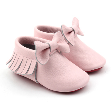 Real Leather Baby Girl Moccasins with Multi-color
