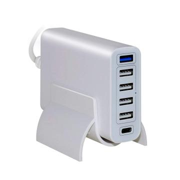60W 6-port USB PD Type-C 3.0 Wall Charger