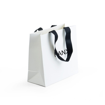 Coated Paper Bag With Black Ribbon Shopping Bag