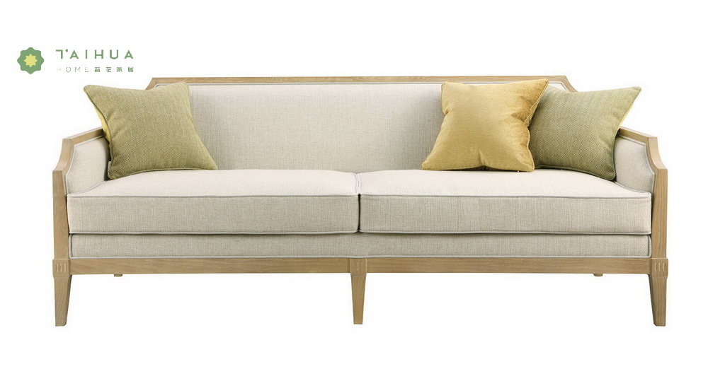 Double Sofa With Solid Wood Legs
