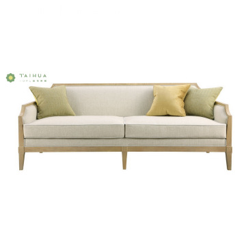 Cloth Art Double Sofa With Solid Wood Legs
