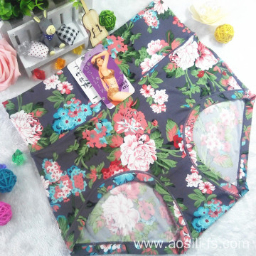 OEM new style wholesale plus size sexy women dark purple panty little printed flowers bamboo fiber underwear 6683