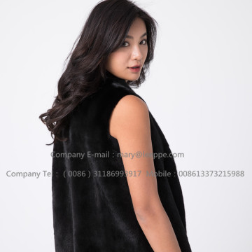 Black Fashionable Mink Vest For Lady