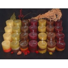 Multi Color Unscented Layered Rustic Pillar Candle