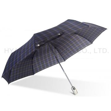 Navy Check Print 3 Folding Umbrella
