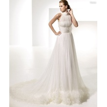 Professional for China Empire Wedding Dresses,Empire Western Wedding Dresses,Empire Boho Wedding Dresses Supplier Empire A-line Round Neck Chapel Train Yarn Draped X-straps Wedding Dress supply to Montenegro Manufacturer