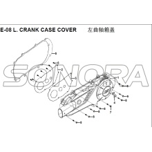 E-08 L. CRANK CASE COVER for XS125T-16A Fiddle III Spare Part Top Quality