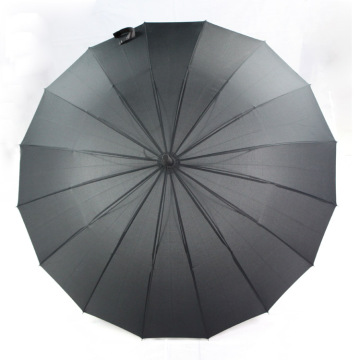 Black 16 ribs men umbrella long shaft