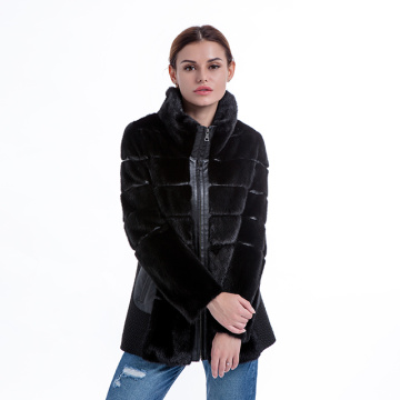 Fashionable black fur coat