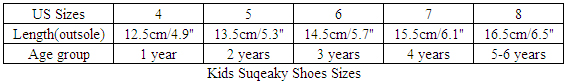 Kids Squeaky Shoes Sizes