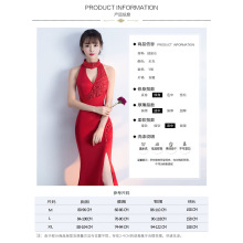 new toast dress bride, spring fashion, red fishtail sexy dress long dress long dress