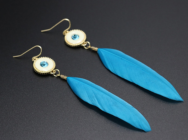 Handmade Bridal Feather Earrings