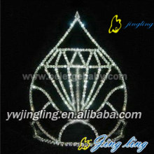Diamond shape custom rhinestone pageant crown CR-632