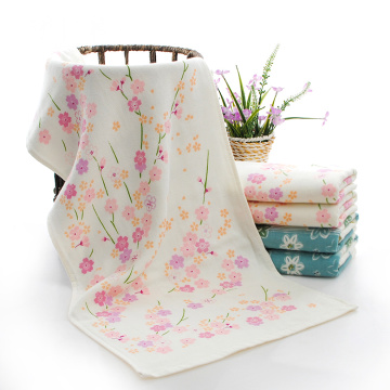 Cotton Face Towel with Fresh Flower Printed Gauze