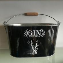 Oval Tin Pail for Beer with wooden handle