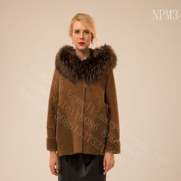 Rib Sleeve Kopenhagen Fur Hooded Short Jacket