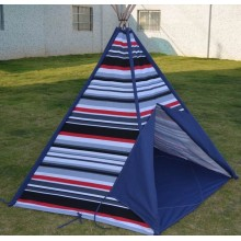 Stripe Canvas Teepee and Wooden Poles kids tent