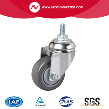 Chrome 3 Inch 130Kg Threaded Swivel PU Caster