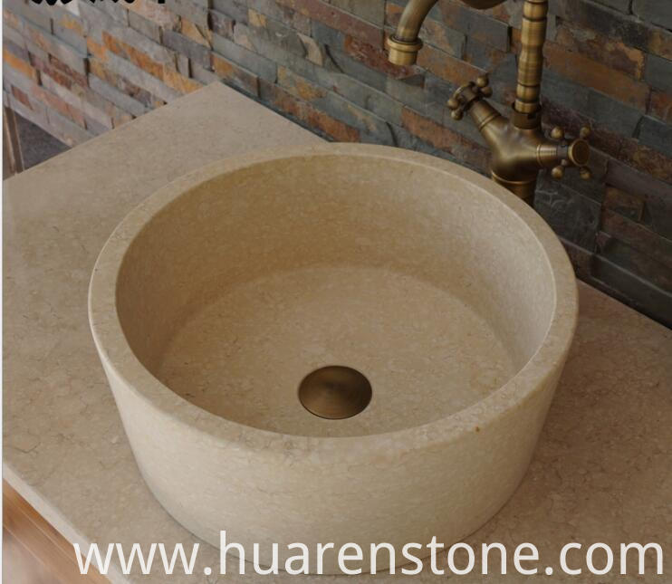 travertine sink vanity