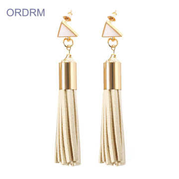 Handmade Womens Long Leather Tassel Earrings
