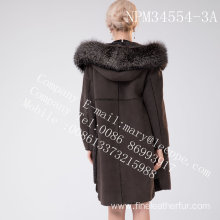 Winter Women Medium Hooded Fur Overcoat