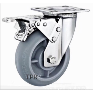 5inch Stainless steel bracket TPR  casters with brakes