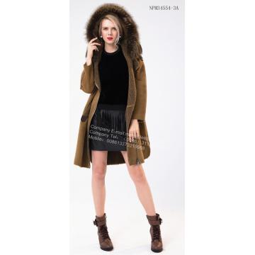 Women Medium Hooded Fur Coat