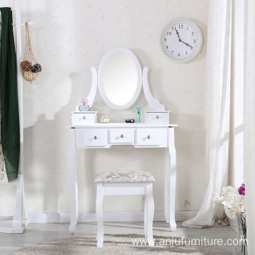 White Wooden Dressing Table with Oval Mirror and Stool Bedroom Shabby Chic 5 Drawers Makeup Desk Sets