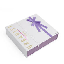 Custom Lady′s Paper Gift Box with Purple Ribbon