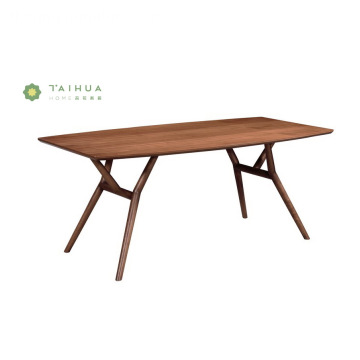 Solid Wood Table Talahanayan na may Round Slim binti
