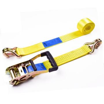"2"" 5 Ton 50mm Rubber Handle Ratchet Buckle Tie Down Yellow Straps With 2 Inch Double J Hooks Safety Latch"