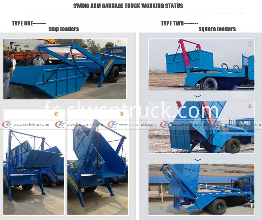 swing arm garbage truck working status