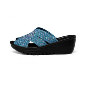 Open Toe Wedge Woman Woven Slippers