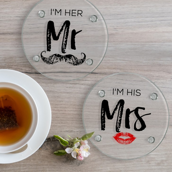 Im Her Mr Im His Round Glass Coaster Set