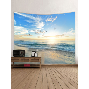 Tapestry Wall Hanging Ocean Sea Wave Beach Series Tapestry Sunrise Sunset Dusk Seagull Tapestry for Bedroom Home Dorm Decor