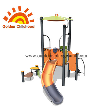 Decorative outdoor playground with children