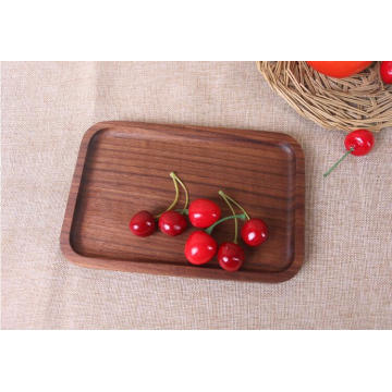 cheap food serving plate breakfast rectangle black walnut wooden plate