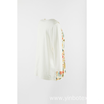 Print lace panel with round neck pullover