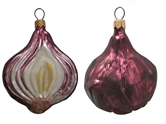 Onion Shaped Customized Christmas Glass Ornaments