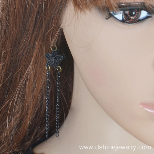 Retro Handmade Chain Tassel Black Lace Hanging Earrings