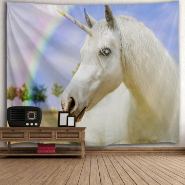 Unicorn White Tapestry Rainbow Wall Hanging Animal Tapestry for Livingroom Bedroom Home Dorm Decor