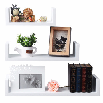 Set of 3 Floating Nesting U Shelves Wall Mount Wood Shelves Display Storage Rack Ledge