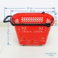 Supermarket and chain stores red baskets with wheels