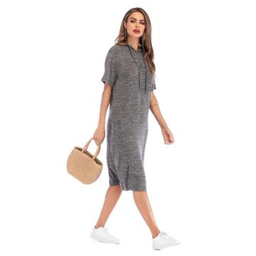 Hooded Short Sleeves Blank T shirt Dress