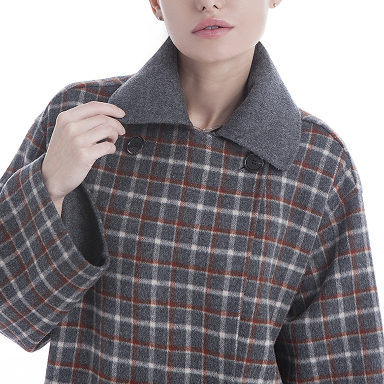 Chequered Double-breasted Winter Coat