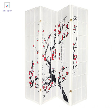 OEM/ODM for Folding Room Dividers Japanese style 4 Panels Plum Blossom Screen Room Divider black supply to Eritrea Wholesale